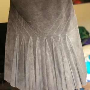 Diane Von Furstenberg A-Line Suede Midi Skirt